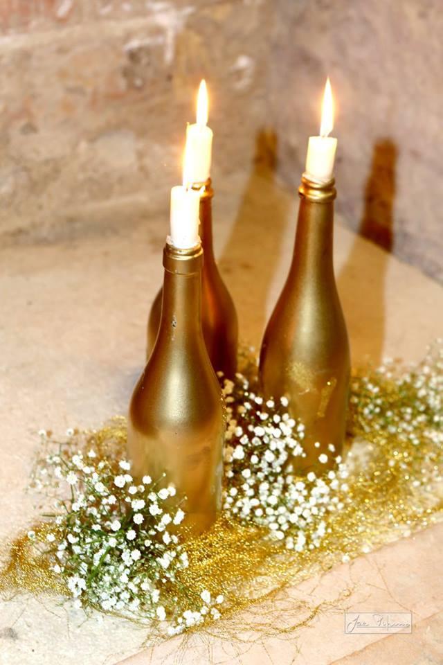decori bottiglie oro
