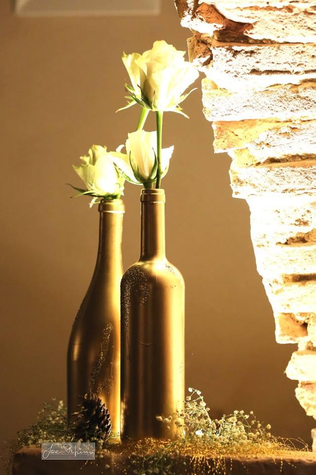 bottiglie oro decorative