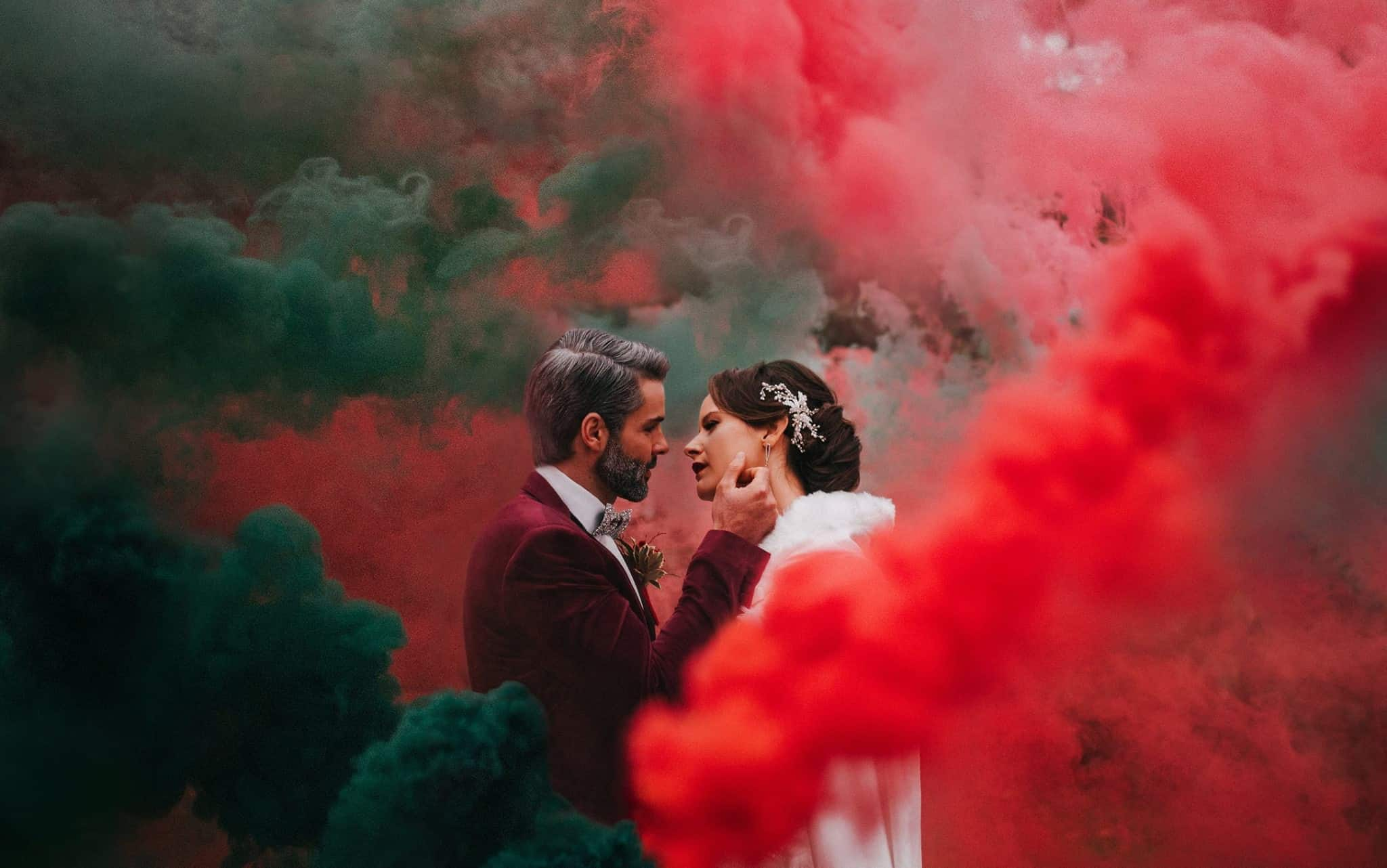 fumogeni colorati matrimonio